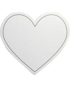 Hjerte, str. 75x69 mm, 120 g, hvit, 10 stk./ 1 pk.