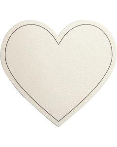 Hjerte, str. 75x69 mm, 120 g, råhvit, 10 stk./ 1 pk.