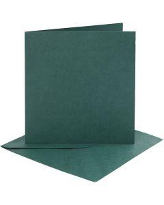Kort og konvolutter, kort str. 15,2x15,2 cm, konvolutt str. 16x16 cm, 230 g, mørk grønn, 4 sett/ 1 pk.