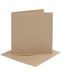 Kort og konvolutter, kort str. 15,2x15,2 cm, konvolutt str. 16x16 cm, 230 g, natur, 4 sett/ 1 pk.