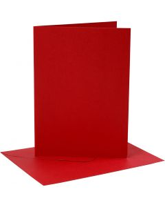 Kort og konvolutter, kort str. 12,7x17,8 cm, konvolutt str. 13,3x18,5 cm, 230 g, rød, 4 sett/ 1 pk.