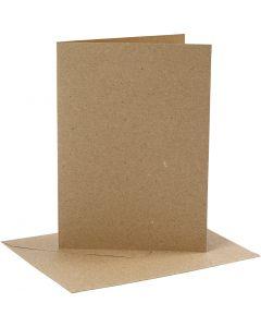 Kort og konvolutter, kort str. 12,7x17,8 cm, konvolutt str. 13,3x18,5 cm, 230 g, natur, 4 sett/ 1 pk.