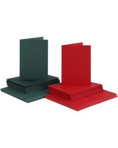 Kort og konvolutter, kort str. 10,5x15 cm, konvolutt str. 11,5x16,5 cm, grønn, rød, 50 sett/ 1 pk.