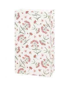 Papirpose, blomster, H: 21 cm, str. 6x12 cm, 80 g, 8 stk./1 pk.