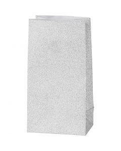 Papirpose, H: 17 cm, str. 6x9 cm, 120 g, sølv, 8 stk./ 1 pk.