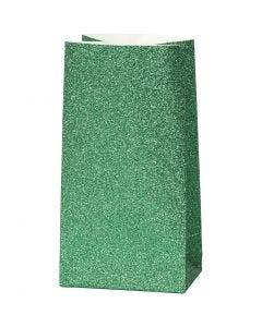 Papirpose, H: 17 cm, str. 6x9 cm, 150 g, grønn, 8 stk./ 1 pk.