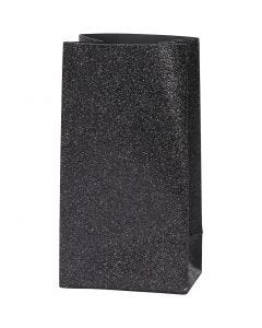 Papirpose, H: 17 cm, str. 6x9 cm, 170 g, svart, 8 stk./ 1 pk.