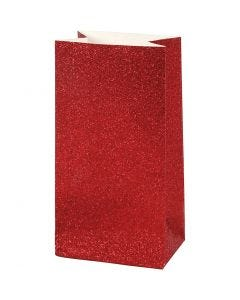 Papirpose, H: 17 cm, str. 6x9 cm, 200 g, rød, 8 stk./ 1 pk.