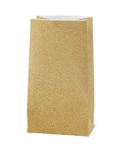 Papirpose, H: 17 cm, str. 6x9 cm, 170 g, gull, 8 stk./1 pk.