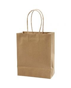 Papirpose, H: 23 cm, B: 18x9 cm, 125 g, brun, 10 stk./ 1 pk.