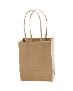 Papirpose, H: 17 cm, B: 12x7 cm, 125 g, brun, 10 stk./1 pk.