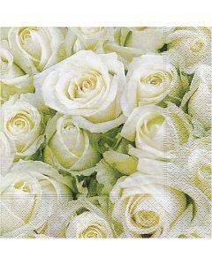Servietter, Hvite roser, str. 33x33 cm, 20 stk./ 1 pk.