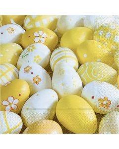 Servietter, malte egg, str. 33x33 cm, 20 stk./ 1 pk.