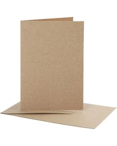 Brevkort med konvolutt, kort str. 10,5x15 cm, konvolutt str. 11,5x16,5 cm, natur, 10 sett/ 1 pk.