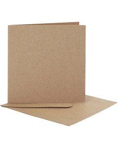 Brevkort med konvolutt, kort str. 12,5x12,5 cm, konvolutt str. 13,5x13,5 cm, natur, 10 sett/ 1 pk.