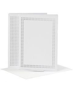 Kort til broderi, kort str. 10,5x15 cm, konvolutt str. 11,5x16,5 cm, hvit, 6 stk./ 1 pk.