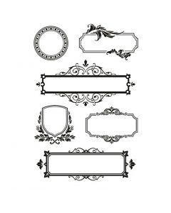 Silikonstempler, rammer med ornaments, 11x15,5 cm, 1 ark