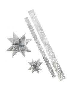 Stjernestrimler, L: 86+100 cm, B: 25+40 mm, dia. 11,5+18,5 cm, sølvglitter, 16 strimler/ 1 pk.