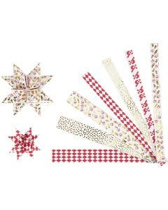 Stjernestrimler, L: 44+78 cm, dia. 6,5+11,5 cm, B: 15x25 mm, gull, rød, hvit, 48 strimler/ 1 pk.