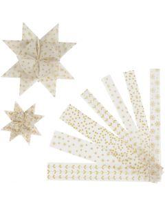Stjernestrimler, L: 44+78 cm, dia. 6,5+11,5 cm, B: 15+25 mm, gull, hvit, 48 strimler/ 1 pk.