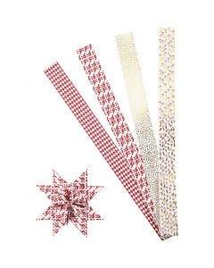 Stjernestrimler, L: 100 cm, dia. 18 cm, B: 40 mm, gull, rød, hvit, 40 strimler/ 1 pk.