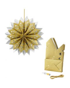 Stjerne av papirposer, 170 g, gull, 1 sett