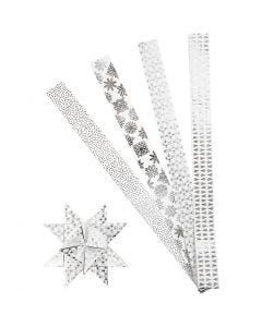 Stjernestrimler, L: 100 cm, dia. 18 cm, B: 40 mm, sølv, hvit, 40 strimler/ 1 pk.