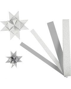 Stjernestrimler, L: 44+78 cm, dia. 6,5+11,5 cm, B: 15+25 mm, glitter,lakk, sølv, 40 strimler/ 1 pk.