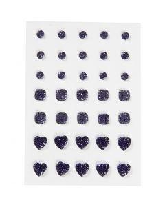 Rhinstein, rund, firkant, hjerte, str. 6+8+10 mm, blå, 35 stk./ 1 pk.