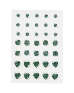 Rhinstein, rund, firkant, hjerte, str. 6+8+10 mm, grønn, 35 stk./ 1 pk.