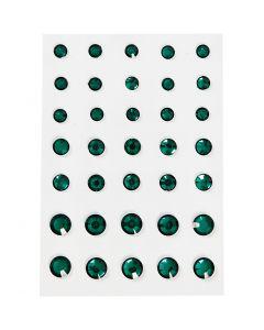 Rhinstein, rund kjegle, str. 6+8+10 mm, grønn, 35 stk./ 1 pk.