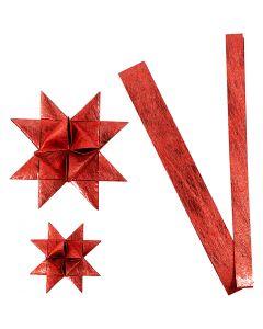 Stjernestrimler, L: 44+78 cm, dia. 6,5+11,5 cm, B: 15+25 mm, rød, 32 strimler/ 1 pk.