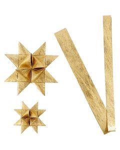 Stjernestrimler, L: 44+78 cm, dia. 6,5+11,5 cm, B: 15+25 mm, gull, 32 strimler/ 1 pk.