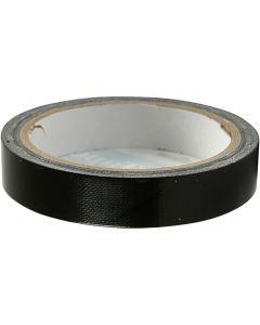 Lerretstape, B: 19 mm, svart, 25 m/ 1 rl.