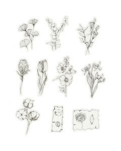 Washi stickers, svarte/hvite blomster, str. 30-50 mm, 30 stk./ 1 pk.