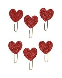 Klips, Hjerte, dia. 30 mm, rød glitter, 6 stk./ 1 pk.