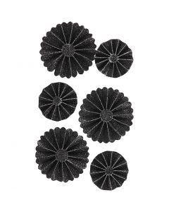 Rosetter, dia. 35+50 mm, svart glitter, 6 stk./ 1 pk.