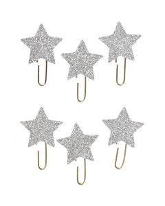 Klips, Stjerne, dia. 30 mm, sølvglitter, 6 stk./ 1 pk.