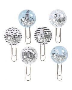 Shaker klips, L: 49 mm, dia. 25 mm, svart, blå, grå, hvit, 6 stk./ 1 pk.