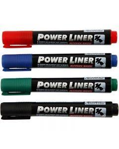 Power Liner, svart, blå, grønn, rød, 4 stk./ 1 pk.