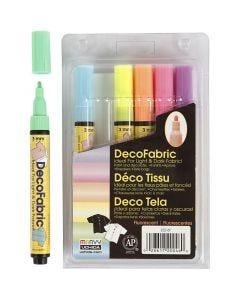 Deco tekstiltusj, strek 3 mm, neonfarger, 6 stk./ 1 pk.
