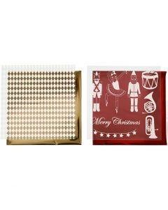 Limfolie og design limark, nøtteknekker, julenisse og ballerina, 15x15 cm, gull, rød, hvit, 4 ark/ 1 pk.