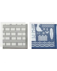 Dekorasjonsfolie og design limark, fyrtårn, 15x15 cm, blå, sølv, 2x2 ark/ 1 pk.