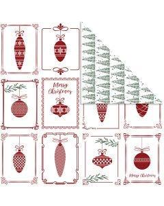 Designpapir, julekuler og juletrær, 30,5x30,5 cm, 180 g, 5 ark/ 1 pk.