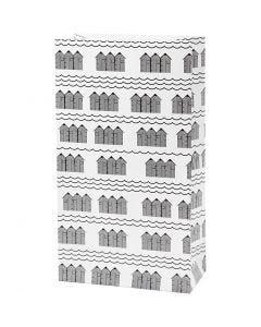 Papirpose, H: 21 cm, str. 6x12 cm, 80 g, svart, hvit, 8 stk./1 pk.