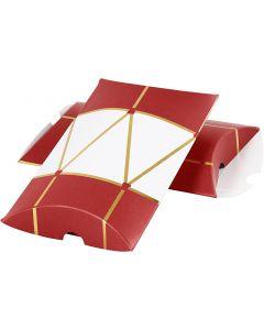 Gaveeske, tromme, str. 14,9x9,4x2,5 cm, 300 g, gull, rød, hvit, 3 stk./ 1 pk.