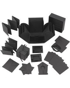 Eksplosjonseske, str. 7x7x7,5+12x12x12 cm, svart, 1 stk.