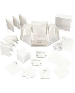 Eksplosjonseske, str. 7x7x7,5+12x12x12 cm, råhvit, 1 stk.