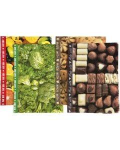 Decoupagepapir , 25x35 cm, 17 g, brun, grønn, gul, 8 ass. ark/ 1 pk.