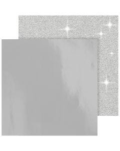 Designpapir, 30,5x30,5 cm, 120+128 g, sølv, 2 ark/ 1 pk.
